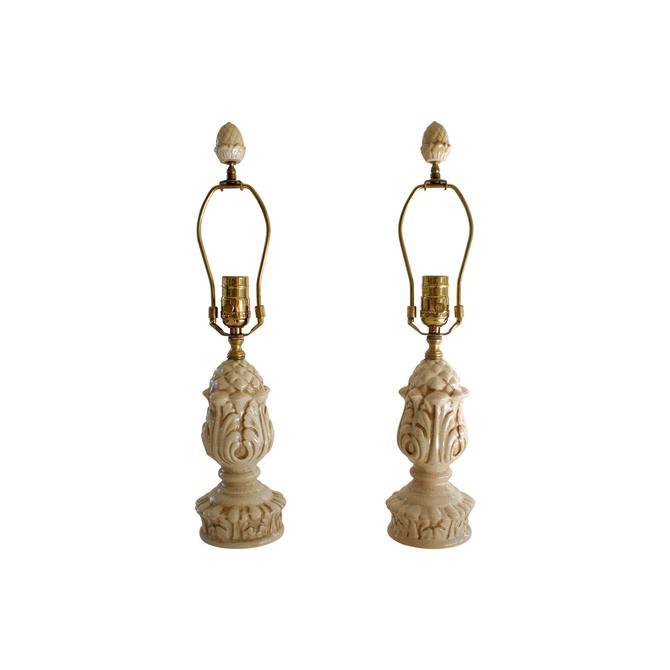 Bradburn Gallery Cream White Crackle Glaze Botanical Motif Ceramic Table Lamps - A Pair by MetronomeVintage