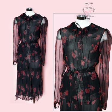 Saks Fifth Avenue Vintage Dress, Sheer Silk Dress Set, Skirt, Blouse, Black, India, Saks Black label, Hippie Ossie Clark Suit by Boutique369