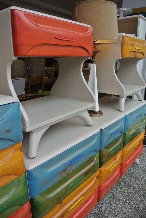 Sculptured pint nightstands and dresser. $165/each and $795