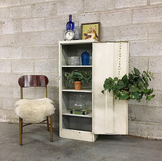 LOCAL PICKUP ONLY Vintage Metal Cabinet Retro 1960's Tall White Metal Kitchen or Storage Unit with 4 Shelves and Metal Chrome Hardware by RetrospectVintage215