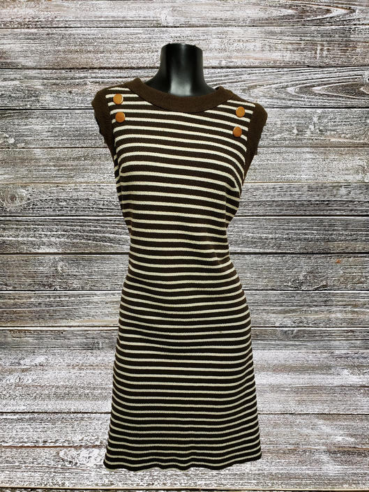 Vintage 1960's Dress, Damon Fashion Dress, Plus Size Dress, 60's Mod Womens Apparel, Brown & White Striped Dress, Vintage Clothing by AGoGoVintage