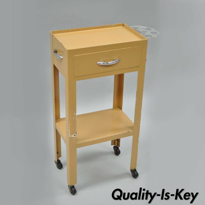 """Vtg 31"""" Steel Metal Industrial Modern Dental Medical Cart Side Table Nightstand"""