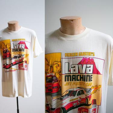 Vintage 1980s Roger Gustin Tshirt / Vintage Drag Racing Tshirt / Vintage Lava Machine Tshirt / Vintage Jet Funny Car Tee / 1970s Drag Race by milkandice