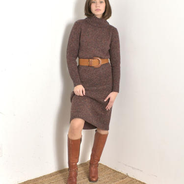 Vintage 1980s Dress / 80s Speckled Wool Turtleneck Sweater Dress / Burgundy ( small S ) by lapoubellevintage