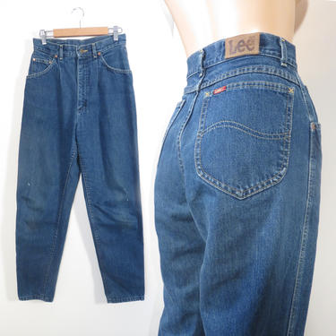 Vintage 80s Lee Riders Distressed High Waist Pleat Front Relaxed Fit Tapered Leg Made In USA Mom Jeans Size 27 x 28 by VelvetCastleVintage