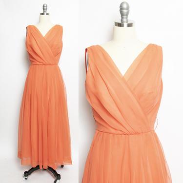 Vintage 1970s Dress Jack Bryan Designer Sherbet Chiffon Maxi Gown S by dejavintageboutique