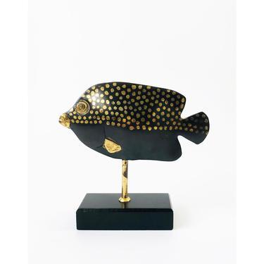 Vintage Brass Fish Sculpture on Stand by SergeantSailor