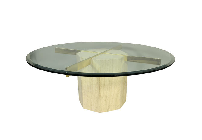 Artedi Cocktail Table Travertine Marble Base Glass Top Coffee Table - Marble base glass top coffee table