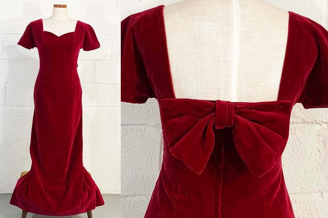 Vintage Red Velvet Dress Short Sleeves Party Cocktail Sweetheart Neckline Evening Prom Wedding New Year's Bow Scoop House Bianchi Small XS by CheckEngineVintage