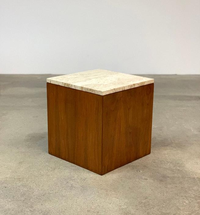 Mid Century Walnut + Travertine Cube Side Table by midcenTree