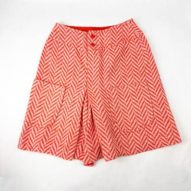 Vintage 1960s Bright Red Chevron Style Wool Skort, 60s Skirt, 60s Shorts, Vintage Biking Skirt, 60s Acrylic Bottom, Boho Hippie, Size Small by MobyDickVintage