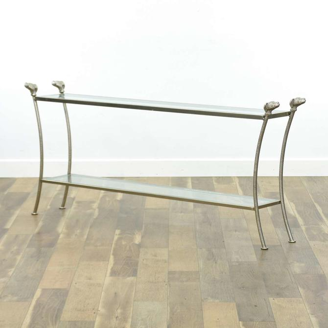 Modernist Cast Metal Console Table W Dog Head Detail