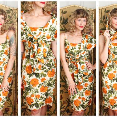 1950s Dress // Charles Cooper SIlk Atelier Dress & Shawl // vintage 50s 2pc Dress set by dethrosevintage