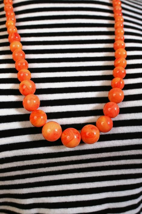 Unique Vintage 60s 70s Bright Orange Marbled Psychedelic Beaded Necklace by RETMOD