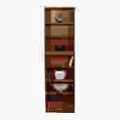 Custom Super-Slim & Tall Hundevad Danish Teak 21.75″ Lighted Adjustable Bookcase