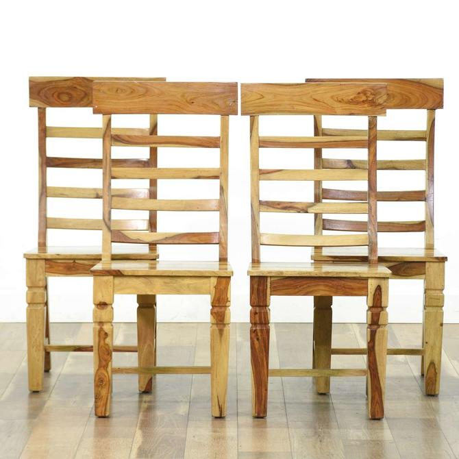 Set 4 Rustic Solid Acacia Wood Dining Chairs, Jaipur