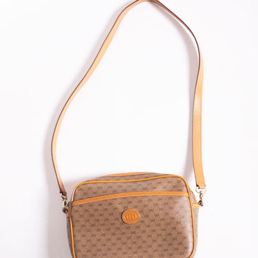 GUCCI 1980s Monogram Small G Leather and Canvas Crossbody Bag Micro G Bag Logo GG Beige Adjustable Strap by backroomclothing