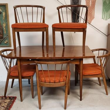 Mid-century Dining Set with Six Chairs