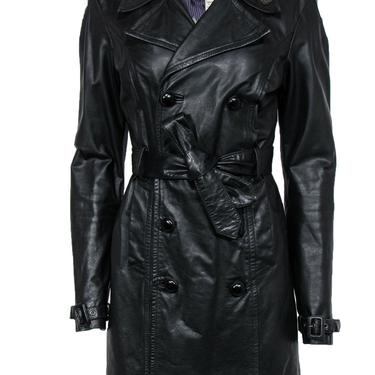 Diesel - Black Double Breasted Leather Trench Coat Sz L