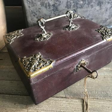 French Leather Jewelry Case, Bronze Mounts, Griffon Handle, Casket, Boudoir Box, Travel Case, Chateau Decor by JansVintageStuff