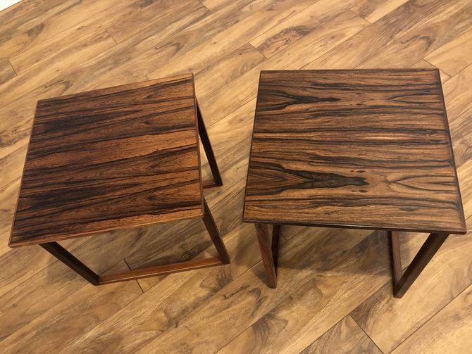 Danish Modern Rosewood Side Table Pair