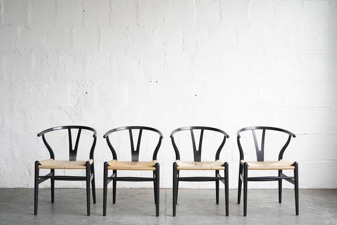 Hans Wegner CH24 Black Wishbone Dining Chairs (Set of 4)