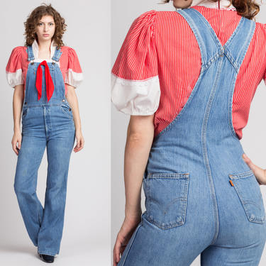 Vintage 70s Levi's Flared Overalls - Women's XS | Denim Bib Overall Pants Retro Blue Jean Bell Bottom Dungarees by FlyingAppleVintage