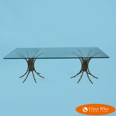 Faux Bamboo Hollywood Regency Metal Coffee Table \/ Side Tables