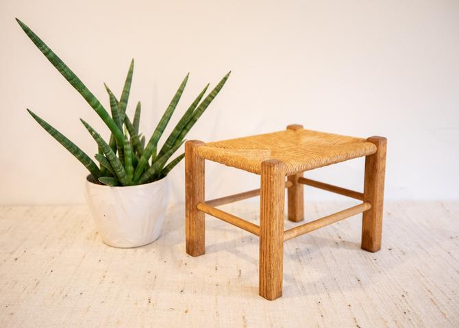 Vintage Rush Woven Style Small Stool / Bench / Plant Stand by PortlandRevibe