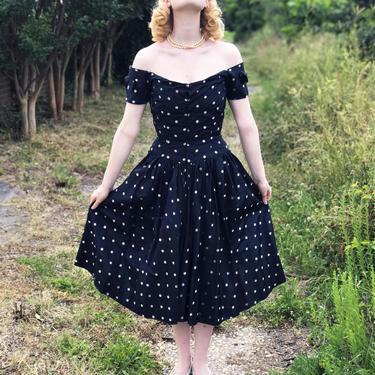 GORGEOUS Vintage 1950s Dress Polka Dot Silk Off The Shoulder Boned Bodice Gathered Front Wiggle Back, S XS by WalkinVintage