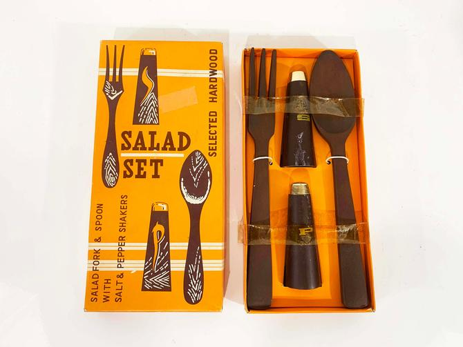 True Vintage Two Piece Salad Set 1960s 60s Salt and Pepper Shakers Fork Spoon MCM Mad Men Retro Gift Wood Handles Japan Tools New in Box NIB by CheckEngineVintage