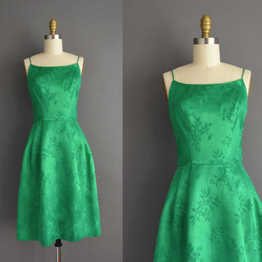 vintage 1950s | Mardi Gras Kelly Green Silk Satin Cocktail Party Dress | XS Small | 50s dress by simplicityisbliss