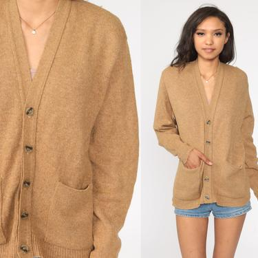 Wool Cardigan Munsingwear Grandpa Cardigan Sweater 80s Button Up Slouchy 70s Light Brown Tan Vintage Retro Grunge Men's Large by ShopExile