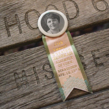 Vintage Rebekah Assembly Odd Fellows IOOF Ribbon and Photograph Portrait Button: Stratford, Connecticut, 1934 by MemoryHoleVintage