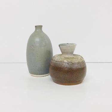 Vintage Ceramic/ Studio Pottery/ Bud Vases/ Pair/ Signed Fieldstone/ Gray/ Stripe/ Home Decor/ Wabi Sabi/ FREE SHIPPING by PnutGallery