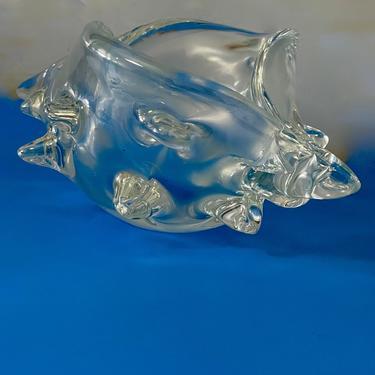 A Beautiful Vintage Large Murano Opalescent Glass Sea Shell Signed Licio Zanetti Italy by modern2120