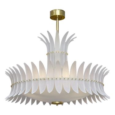 "Art Deco Style ""Plume"" Murano Glass Chandelier"