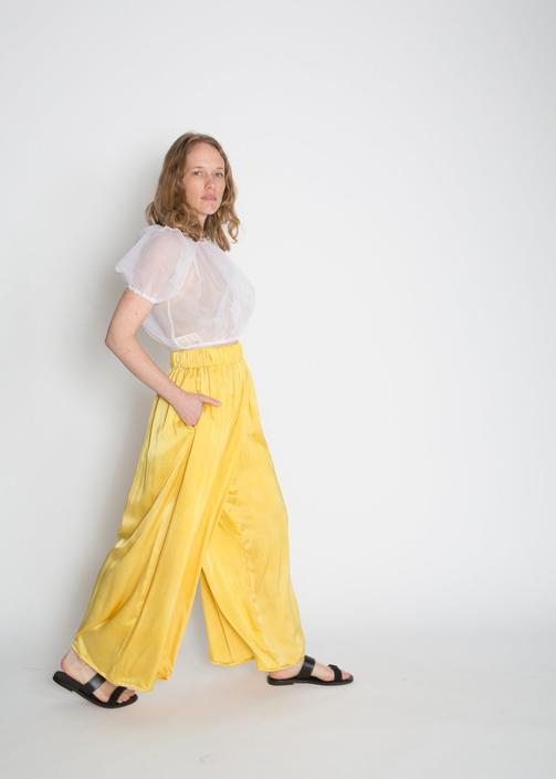 Palazzo Pant, Silk Charmeuse in Mexican Mint Marigold