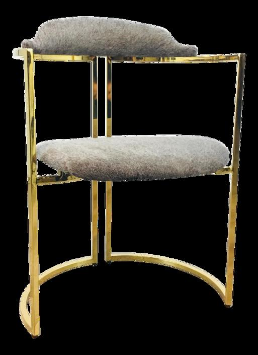 Arteriors Contemporary Gray Hide and Brass Finished Zephyr Accent Chair