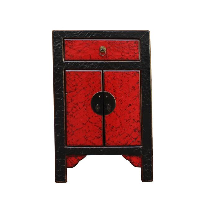 Chinese Distressed Black Red Crackle Pattern End Table Nightstand cs4363S