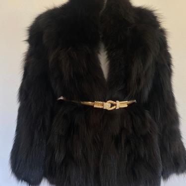 70's vintage FOX FUR coat, black fox fur stroller jacket, couture vintage plush fox fur coat, real fox fur, opera coat fur stroller 40 L by RETROSPECTNYC