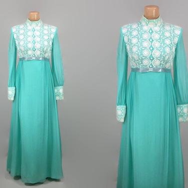 VINTAGE 60s 70s Sheer Sleeve Aqua and White Crochet Lace Maxi Dress   1970s Cottagecore Festival Dress   1960 Long Sleeve BOHO Prairie Dress by IntrigueU4Ever