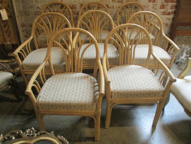 SET OF EIGHT PRICED SEPARATELY VINTAGE RATTAN CHAIRS
