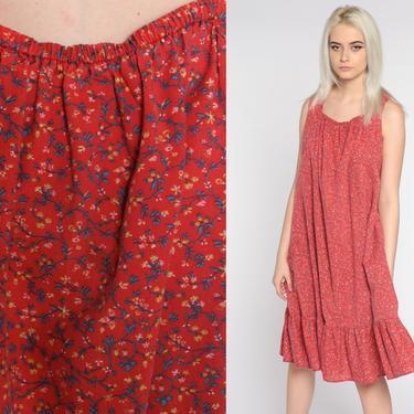 70s Sun Dress Red Floral Calico Dress Sundress Bohemian Tent Dress Midi Summer Dress 1970s Vintage Hippie Boho Dress Trapeze Large by ShopExile