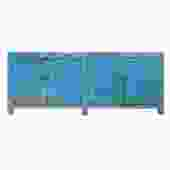 Distressed Pastel Blue Rough Finish High Credenza Console Buffet Table cs5374S