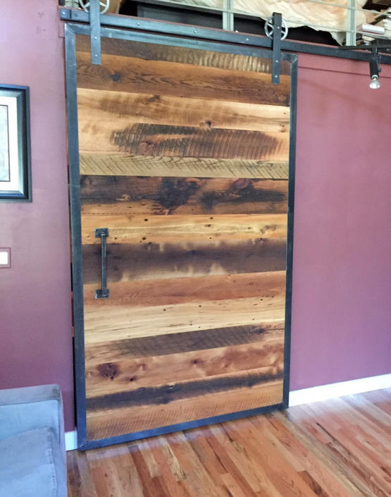 Reclaimed Barn Wood Door with Steel Frame and Hardware by wwmake