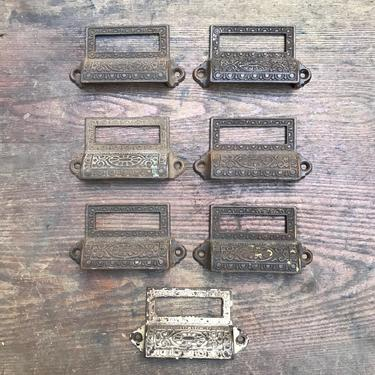 Set of 7 1870s Cast Iron Victorian Eastlake Ornate Drawer Pulls with Labels by NorthGroveAntiques