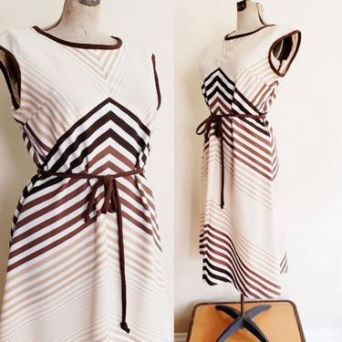1970s Chevron Striped Shift Dress / 70s Sleeveless Day Dress in Brown Cream Beige Stripe Belted A Line Skirt / L / Valerie by RareJuleVintage
