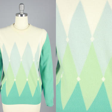 1960s PRINGLE Argyle Sweater | Vintage 60s Teal & White Geometric Pullover | Large by RelicVintageSF
