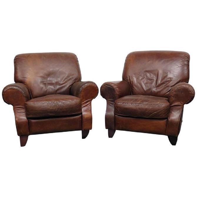 Pair of Contemporary Italian Leather Club Chairs